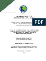 """PLAN DE MARKETING PARA LOS ARTESANOS DE MADERA DE LA ASOCIACIÓN INTERPROFESIONAL DE ARTESANOS """"EL TAMBO"""", PROVINCIA DE SANTA ELENA, AÑO 2013.pdf"""