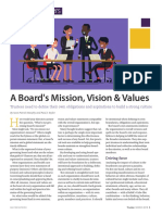 A Boards Mission, Vision Values Trustees Need to Define Their Own Obligations and Aspirations to Build a Strong Culture