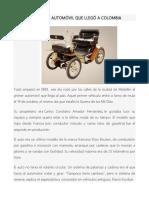 ESTE FUE EL PRIMER AUTOMÓVIL QUE LLEGÓ A COLOMBIA.docx