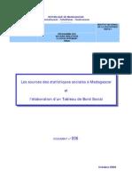 Les sources des statistiques sociales à Madagascar et l'élaboration d'un Tableau de Bord Social (Octobre 2000)