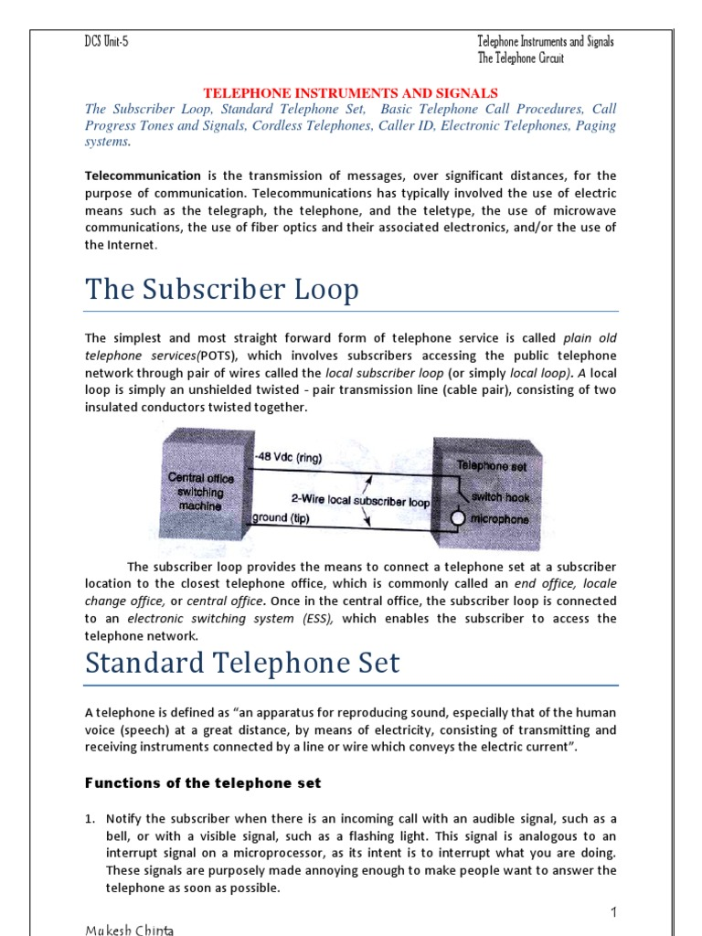 Telephone Instruments, Signals and Circuits | Telephone Exchange ...