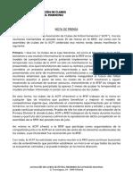 (NOTA de PRENSA) - Reacciones de La ACFF Tras Las Reuniones Mantenidas El Pasado Lunes 25 de Marzo