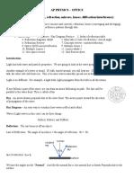 Geo Optics 1 Reflect Refract Notes