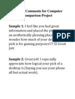 Teacher Comments for Computer Comparison Project