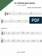 Piano colores en notas teniendo en cuenta la numerofonia
