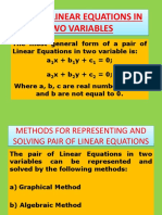 Pair of Linear Equation in Two Variables