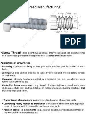 Thread manufacturing process ppt   Screw   Equipment