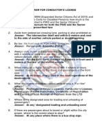 Questionnaires for Philippine Bus Conductor's License Exam Applicants