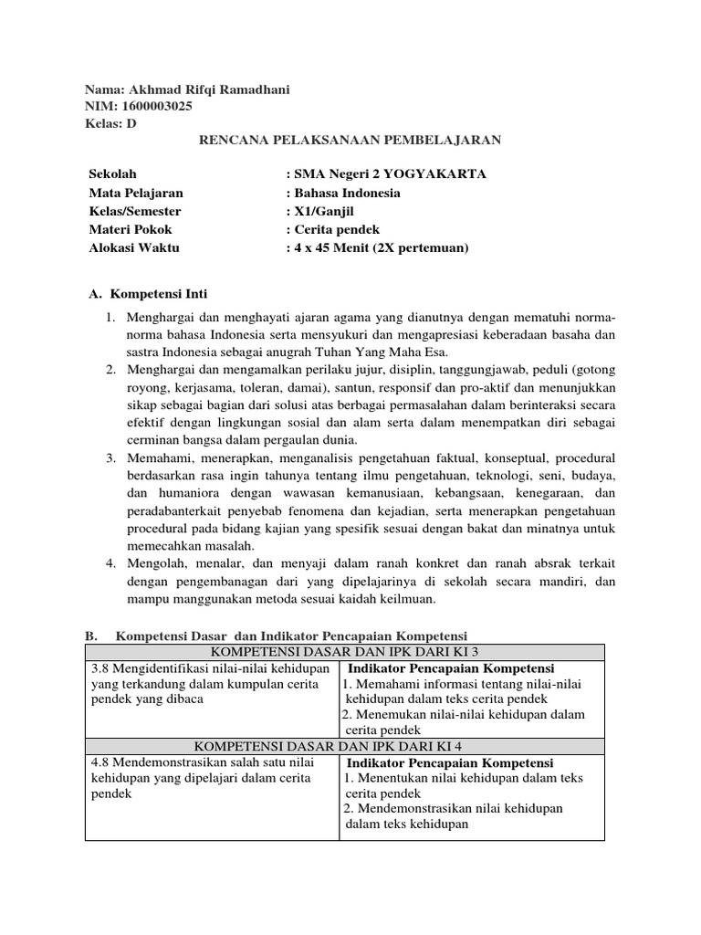 Rpp B Indo Kelas 11 Rev 2018 3 8 Dan 4 8 Teks Cerpen 1 Docx