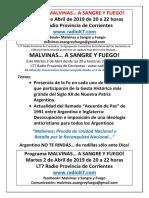 MALVINAS, A Sangre y Fuego_Martes 02 de Abril de 20 a 22 Hs_Por LT7 Radio Prov de Ctes