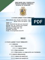 2.3 Flujo Laminar y Flujo Turbulento