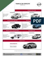 Tabela de Preços Nissan 2019