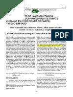 comportamiento de La Conductancia Estomatica de Dos Variedades de Tomate Cubanas en Condiciones de Campo y Riego Limitado
