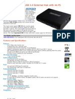 4 Port Super Speed USB 3.0 External Hub With 4A PS