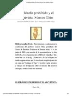 El filósofo prohibido y el archivista. Marcos Ghio | Biblioteca Evoliana.pdf