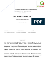 Planeacion Anual Tecnologia I VESPERTINO