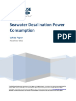 Seawater desalination power consumption