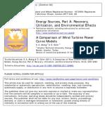 A Comparison of Wind Turbine Power