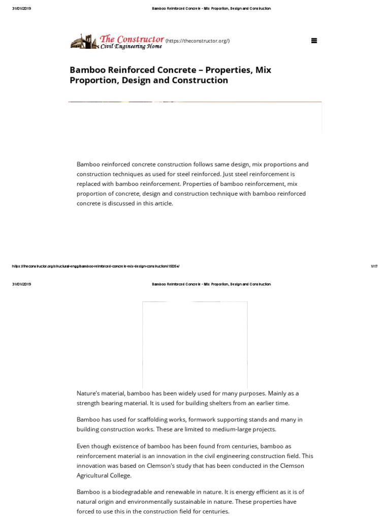 Bamboo Reinforced Concrete Mix Proportion Design And Construction Pdf Reinforced Concrete Bamboo