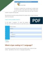 Type Casting in c Language PDF