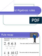 Patterns and Algebra Rules