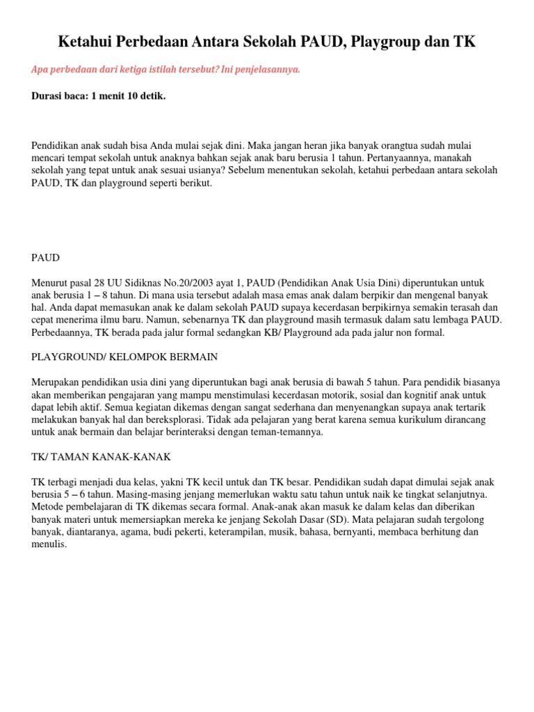 Ketahui Perbedaan Antara Sekolah Paud Playgroup Dan Tk Durasi Baca 1 Menit 10 Detik