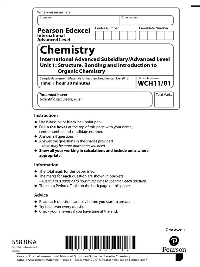 Chemistry Unit 1 - Specimen Paper - 2019 pdf | Chemical Polarity