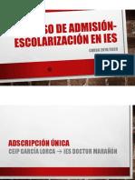 Proceso de Admisión- Escolarización en Ies