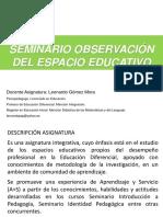 Seminario Observacion Espacio Educativo c Enviar Correo Curso