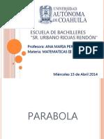 Proyecto de Matematicas III Parabola Equipo