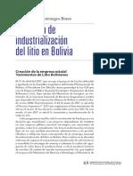 Industrializacion Del Litio en Bolivia