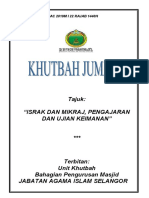 Khutbah Jais 29.03.2019 (Rumi) Israk Mikraj, Pengajaran Dan Ujian Keimanan
