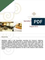 Speciality Restaurant Presentation Aug 2012