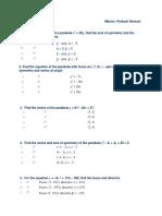 Parabola Worksheet