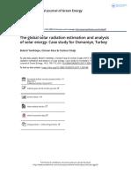The Global Solar Radiation Estimation and Analysis of Solar Energy Case Study for Osmaniye Turkey