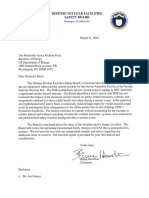 Letter from Defense Nuclear Facilities Safety Board