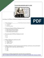 William Shakespeare Worksheet Intro