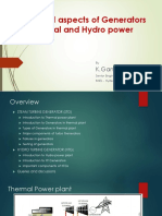 Practical Aspects of Generators in Thermal and Hydro Power Plants