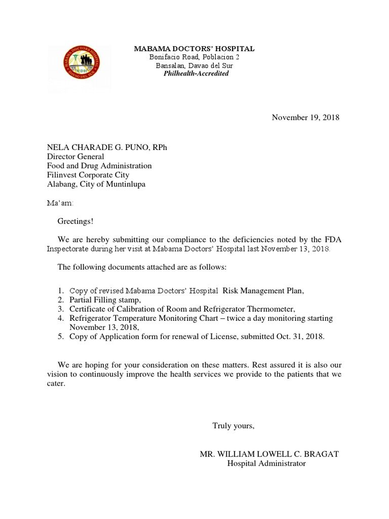 Cover Letter - Compliance Letter to FDA.docx