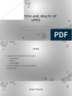 Nutrition and Health of Lipids