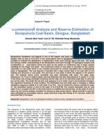3dimensional Analysis and Reserve Estimation of Barapukuria Coal Basin Dina
