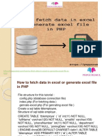 how to fetch data in excel or generate excel file in php