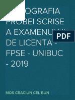 Bibliografia probei scrise a examenului de licenţă - FPSE - UNIBUC - 2019