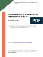 Wanda Fraiman (2013). Los Cientificos y El Acceso a La Informacion Publica