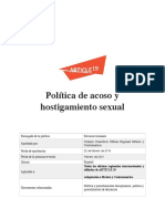 Política interna de ARTICLE 19 sobre acoso y hostigamiento sexual