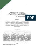 El Camino de Rousseau de La Directa a La Democracia Respresentativa