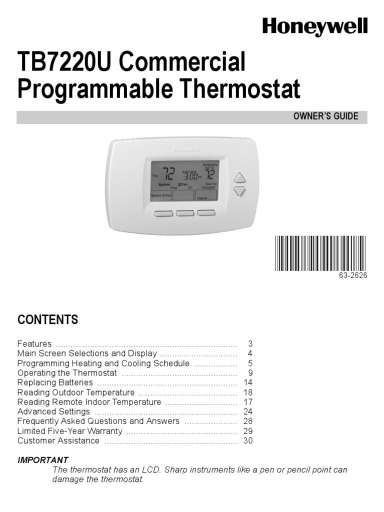 Honeywell Tb7220u Manual Product User Guide Instruction Old Round Wiring Diagrams Diy Enthusiasts Thermostat Tb7220u1012 Fahrenheit Rh Es Scribd Com Security Keypad Programming