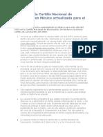 Vacunas de la Cartilla Nacional de Vacunación en México actualizada para el 2010