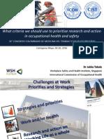 Criterios Para Priorizar La Investigacion y Accion en Salud Ocupacional Dr. Yukka Takala