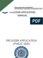 provider application manual